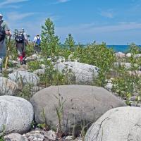 Hikers and boulders at McKay Harbour_credit Alan V Morgan