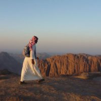 Bedouin guide at sunset, near Mt Sinai, Sinai Trail